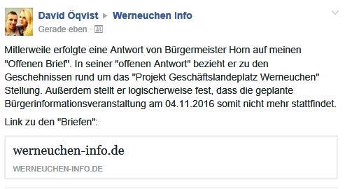 Ausschnitt Information in Facebook