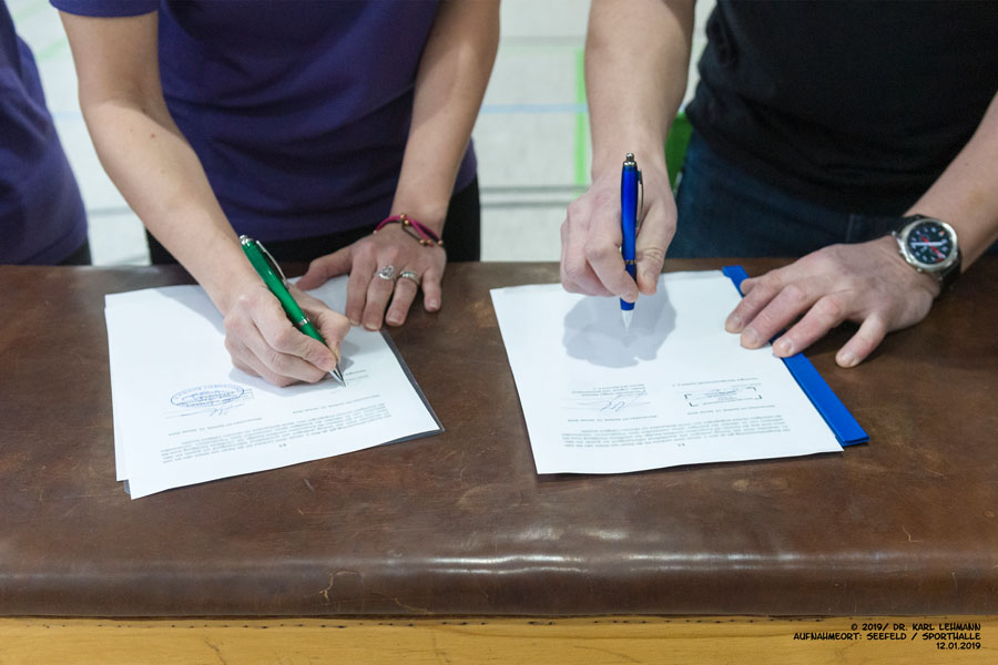 Unterzeichnung Kooperatiopnsvertrag KJS Barnim und VSG Seefeld