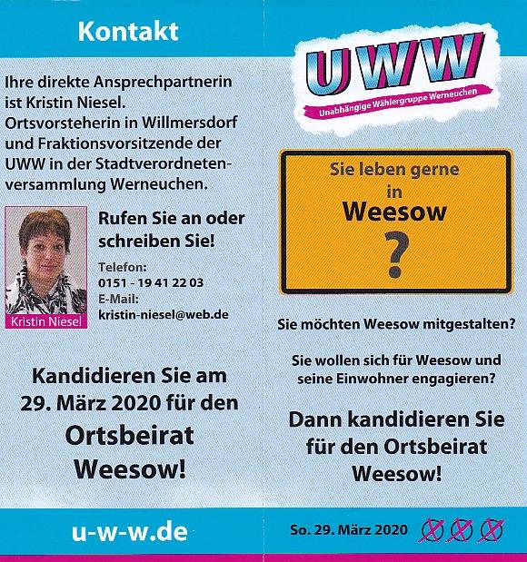 Flyer 1 Ortsbeiratswahl Weesow