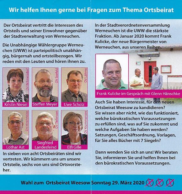Flyer 2 Ortsbeiratswahl Weesow